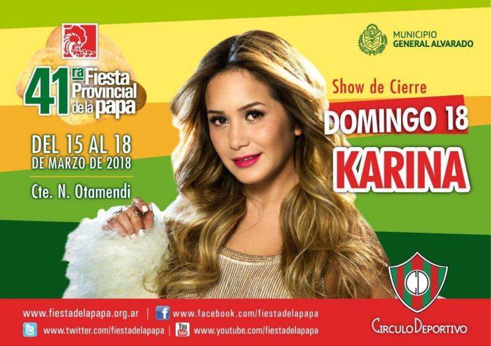 Karina , gratis , al aire libre en la Fiesta Provincial de la Papa en Otamendi